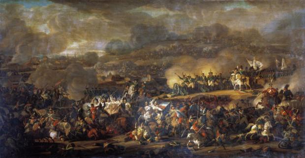 Bitwa pod Lipskiem uwieczniona pędzlem przez rosyjskiego malarza Władymira Iwanowicza Moszkowa (1792-1839).