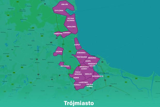 Strefy, gdzie będzie można wypożyczać samochody firmy Traficar.