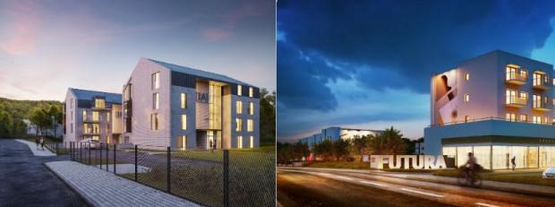 Po lewej wizualizacja budynków inwestycji Kwartet Polanki, po prawej osiedle Futura Park przy Starogardzkiej. Odtąd oba sprzedaje Euro Styl.