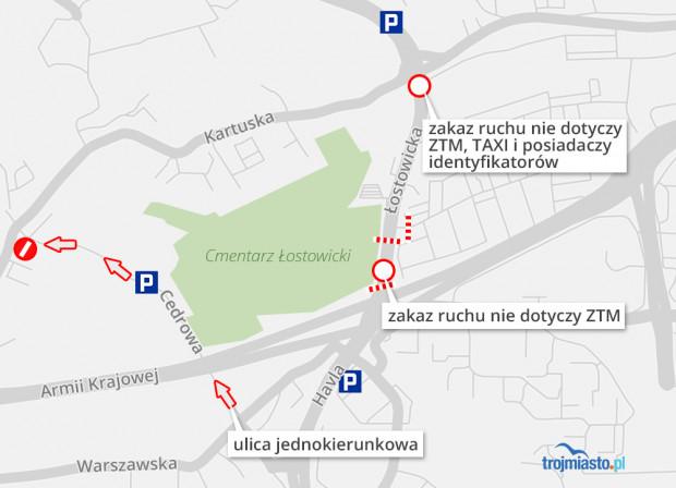 Ruch przy ul. Łostowickiej w Gdańsku.
