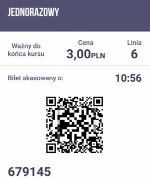 Ekran kontrolny skasowanego biletu w aplikacji jakdojade.pl