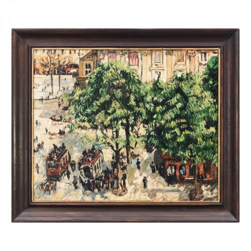 Dorota Sokołowska, Plac Teatralny w Paryżu, kopia wg. Francisco Pizarro, olej na płótnie, 73x62 cm, cena: 1500 zł.