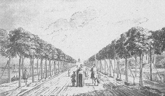 Jedna z najsłynniejszych grafik Daniela Chodowieckiego: pruska budka graniczna na Wielkiej Alei (dziś aleja Zwycięstwa), między Gdańskiem a Wrzeszczem.