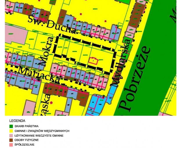 Struktura własności gruntów w rejonie ul. św. Ducha.