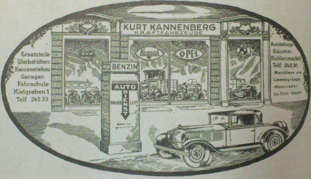 Reklama prasowa salonu samochodowego Kurta Kannenberga z Targu Węglowego (1929 r.). Większość stacji benzynowych w okresie międzywojennym miała nadal postać wolnostojących, pojedynczych zazwyczaj, dystrybutorów paliwa.