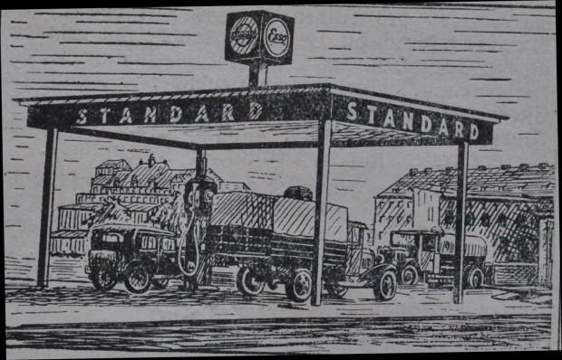 Grafika przedstawiająca nowo otwartą w czerwcu 1932 r. stację benzynową Standard na ul. Głębokiej. W tle widoczny gmach dzisiejszego Zespołu Szkół Ogólnokształcących nr 6.