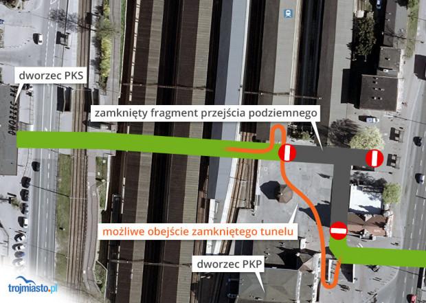 Tymczasowe zmiany w organizacji ruchu pieszego w tunelu przy Dworcu Głównym.