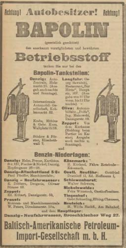 Jedna z reklam stacji benzynowych (i paliwa) Bapolin.