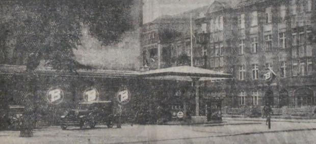 Zdjęcie otwartej w lipcu 1932 r. po modernizacji stacji benzynowej Baltoil we Wrzeszczu, przy al. Grunwaldzkiej. Bardzo długo działał tu lokal Stacja DeLuxe.