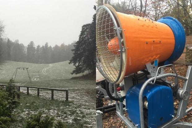 Na Łysej Górze w Sopocie pojawiły się nowe armatki śnieżnie. Niestety pogoda na razie nie pozwala na ich uruchomienie.