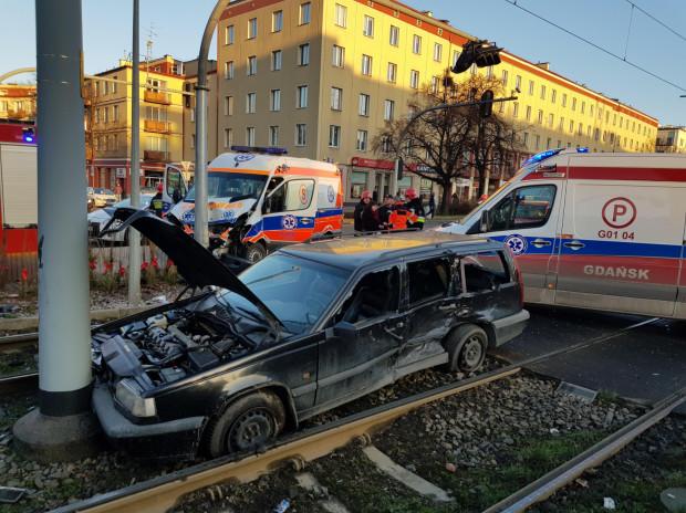 Skutki wypadku we Wrzeszczu.