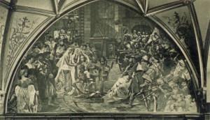 """Jedno z historycznych malowideł, umieszczonych w XIX wieku w Białej Sali Ratusza Głównego Miasta, przedstawiało Eberharda Ferbera, otrzymującego wieniec po zwycięstwie w """"turnieju majowym"""" na Długim Targu w 1493 r."""