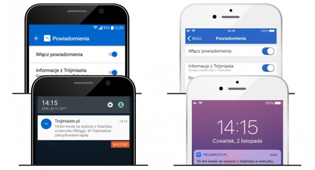 Powiadomienia o utrudnieniach możesz otrzymywać z aplikacji Trojmiasto.pl