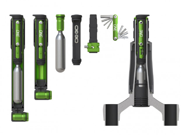 Mały zestaw narzędziowy OneUp EDC tool system, cena: ok. 160 zł; pompka EDC, do której włożymy multitool, cena: ok. 200 zł