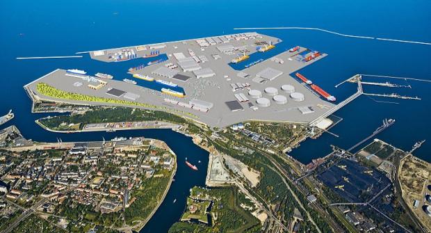 Port Centralny. Projekt zakłada powstanie kolejnych głębokowodnych terminali do obsługi największych statków wchodzących na Bałtyk.