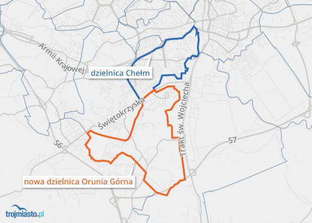 Z dzielnicy Chełm ma być wyodrębniona nowa dzielnica Gdańska - Orunia Górna.