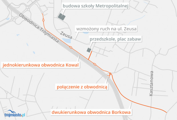 Propozycja usprawnienia ruchu w okolicy Metropolitalnej Szkoły w Kowalach przygotowana przez Macieja Naskręta, dziennikarza Trojmiasto.pl.