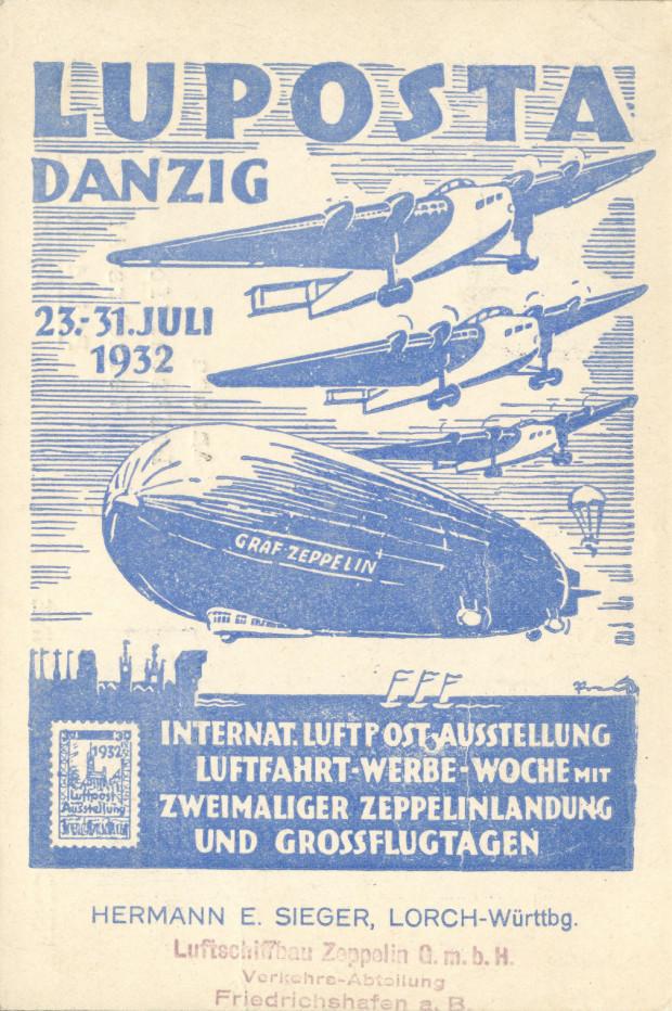 """Plakat imprezy promującej pocztę lotniczą, w ramach której dwukrotnie 31 lipca 1932 r. pojawił się w Gdańsku """"Graf Zeppelin"""" (ze zbiorów Krzysztofa Gryndera)."""