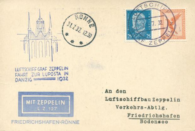 """Koperta listu nadanego pocztą lotniczą z miejscowości Rønne z Bornholmu do Friedrichshafen w Niemczech (przewiezionego na pokładzie """"Grafa Zeppelina"""") (ze zbiorów Krzysztofa Gryndera)."""