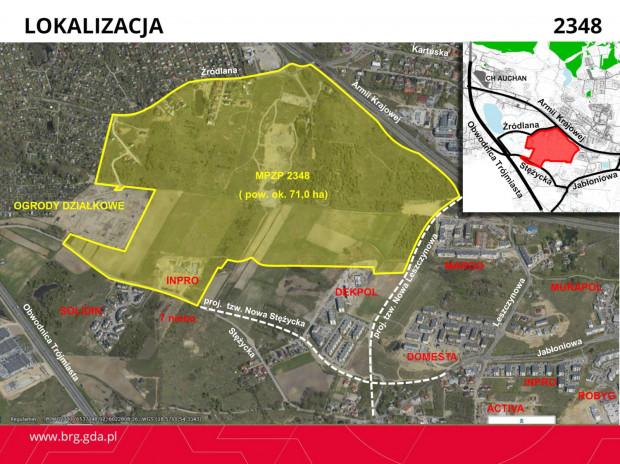 Lokalizacja projektu planu z docelowym układem drogowym.