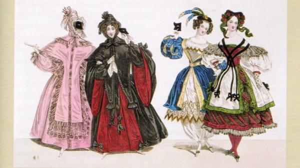 Stroje na bal maskowy lata 40. XIX wieku.