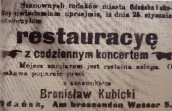 Anons z Gazety Gdańskiej zapraszający do restauracji Kubickiego.
