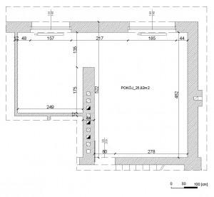 Istniejący układ i wymiary projektowanych pomieszczeń.