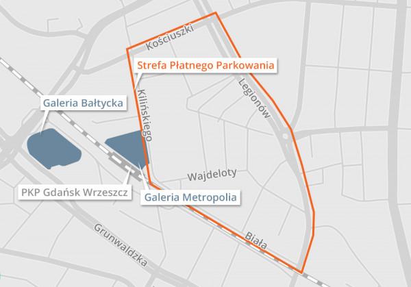 Wstępna propozycja granic Strefy Płatnego Parkowania we Wrzeszczu Dolnym.