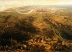 Widok obleganego Gdańska ze stanowisk Francuzów.