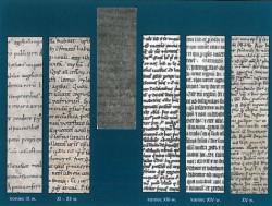 Porównanie ręcznego pisma z różnych okresów, z tym znalezionym w Gdańsku (trzeci od lewej.)