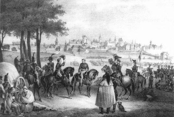 Rycina z epoki, prezentująca prawdopodobnie pertraktacje między pruskimi obrońcami Gdańska a oblegającym miasto wojskami francusko-polsko-niemieckimi.