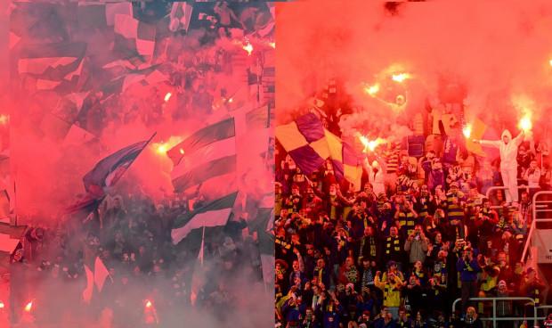 M.in. za takie obrazki na stadionach w Gdyni (z prawej) i Gdańsku (z lewej) Arka i Lechia płaciły jesienią kary finansowe.