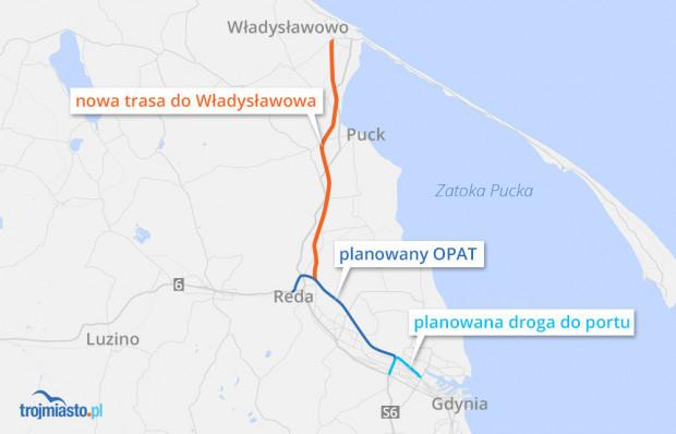 Plan rozbudowy dróg na północ od Gdyni.