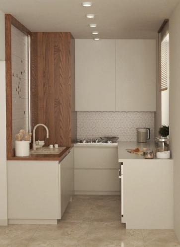 Druga koncepcja zakłada zastosowanie beżowej kolorystyki oraz wprowadzenie nieznacznie ciemniejszego drewna.