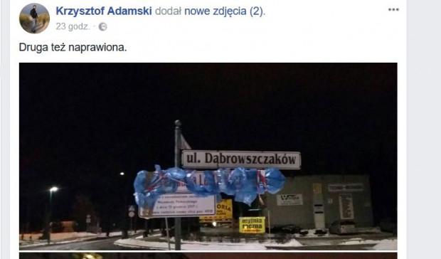 Mieszkaniec Gdańska nie ukrywał, że to on zasłonił nowo zawieszone tablice z nazwą ulicy Prezydenta Lecha Kaczyńskiego, które zastąpiły starą nazwę - ul. Dąbrowszczaków.