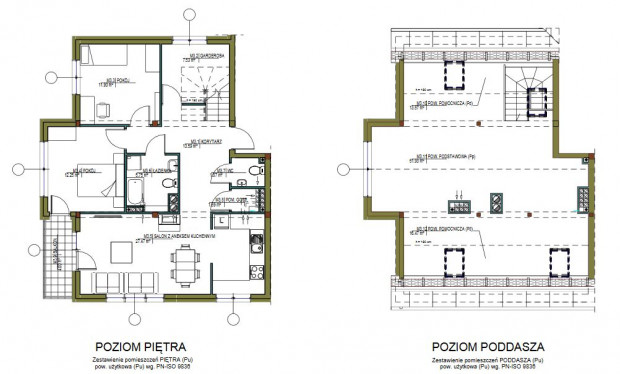 Mieszkanie dwupoziomowe na osiedlu Zielona Laguna. Część dolna została podzielona na poszczególne pomieszczenia, zaś górę można dowolnie zaaranżować.