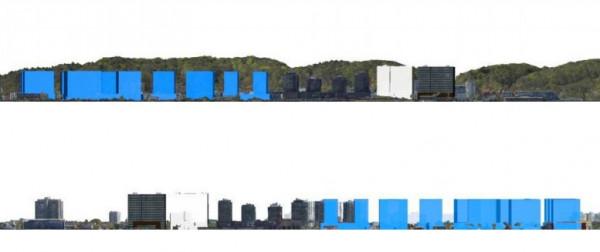 Sylweta potencjalnej formy nowej zabudowy (na niebiesko) na tle wzgórz morenowych (u góry) oraz w stronę Zatoki Gdańskiej (na dole).