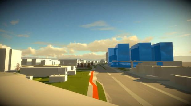 Wizualizacja potencjalnej formy nowej zabudowy (na niebiesko) zgodna z projektem planu - widok z wiaduktu PKM.