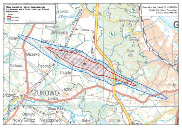 Obszar ograniczonego użytkowania wokół Portu Lotniczego w Gdańsku.