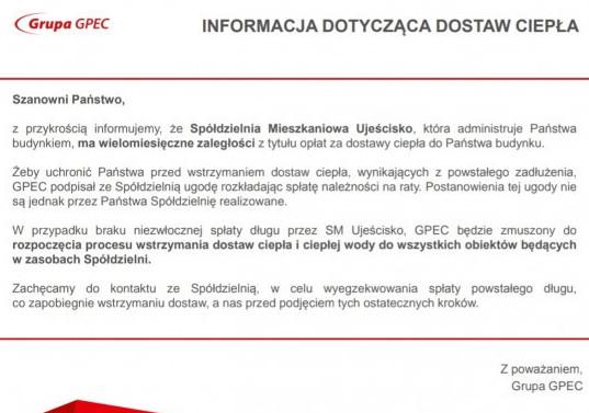 W blokach administrowanych przez SM Ujeścisko, pojawiły się takie informacje.