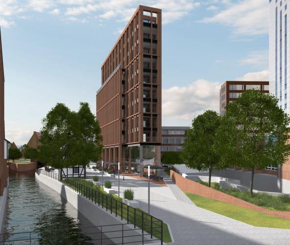 Tak może wyglądać budynek, który powstanie na placu przy ul. Wodopój, za budynkiem NOT-u i hotelem Mercure.