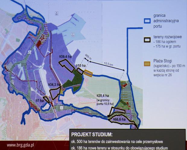 Tereny portowo-przemysłowo-usługowe w obrębie Wyspy Stogi.