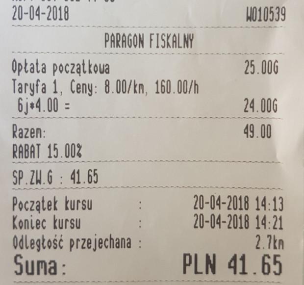 Rachunek z jazdy taksówką pomiędzy Wrzeszczem a Zaspą.