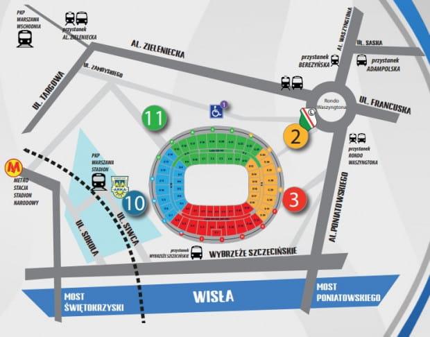 Kibice Arki Gdynia zasiądą w Warszawie na trybunie niebieskiej. Na stadion dostaną się wejściem nr 10. Ci, którzy przyjadą własnym środkiem transportu, będą mogli go zostawić na parkingu od ul. Sokolej, ale tylko po wykupieniu przez internet biletu parkingowego.