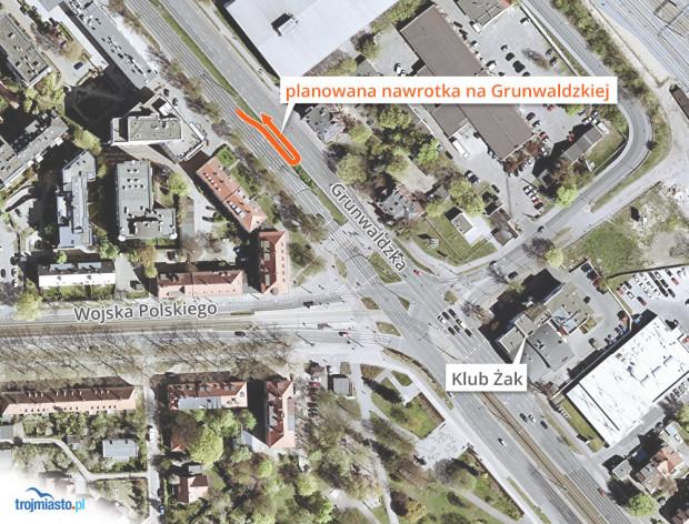 Orientacyjne miejsce powstania nowej nawrotki na al. Grunwaldzkiej.