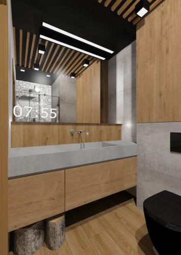 Druga koncepcja zakłada połączenie intensywniejszej barwy drewna z szarością.