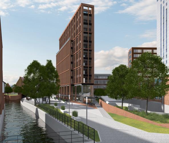 Planowana zabudowa przy ulicy Wodopój będzie mogła mieć 37 metrów, to prawie tyle, ile ma biurowiec Heweliusza 18.