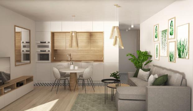 W pierwszej koncepcji sypialnia znalazła się za częścią kuchenną. Przy ścianie zaplanowano narożną kanapę a na środku pomieszczenia znalazł się okrągły stół jadalniany.