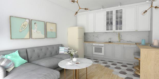 Aranżacja wnętrza opiera się na wprowadzeniu klasycznej stylistyki i stonowanych, spokojnych kolorów.