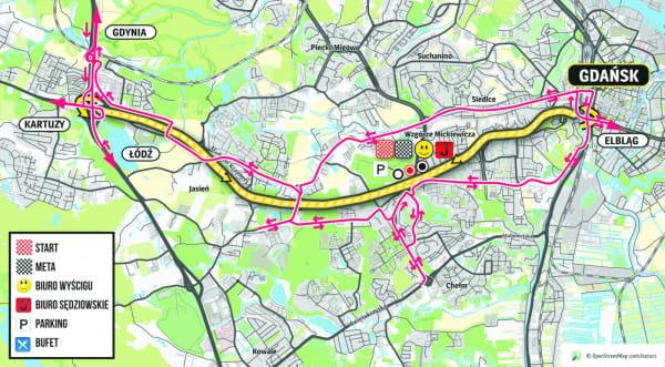 W związku z sobotnim wyścigiem zamknięta zostanie al. Armii Krajowej. Na mapce, kolorem różowym oznakowano sugerowane objazdy.